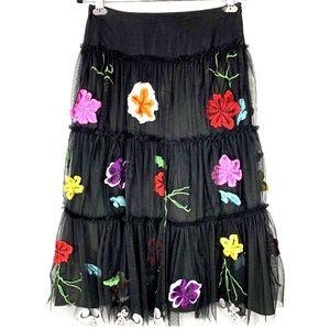 Anthropologie KENAR Floral Embroidered skirt